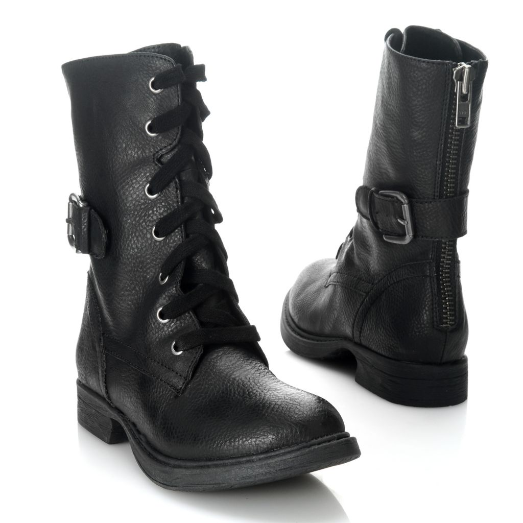 714-089 - MIA Lace-up Studded Combat-Inspired Zipper & Buckle Detailed Boots