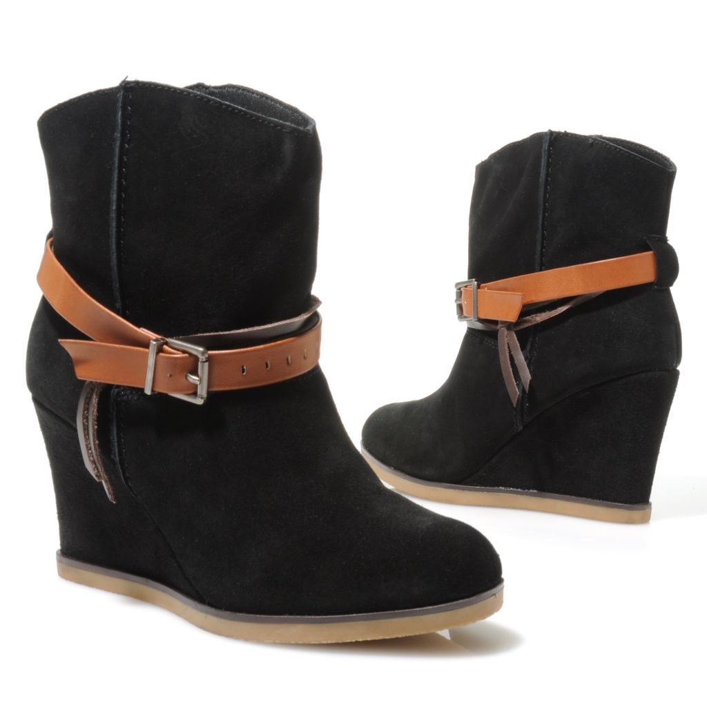 714-096 - MIA Suede Leather Belt & Buckle Detailed Short Wedge Boots