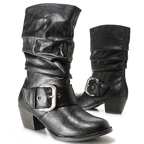 714-097 - MIA Buckle Detailed Mid-Height Slouchy Boots