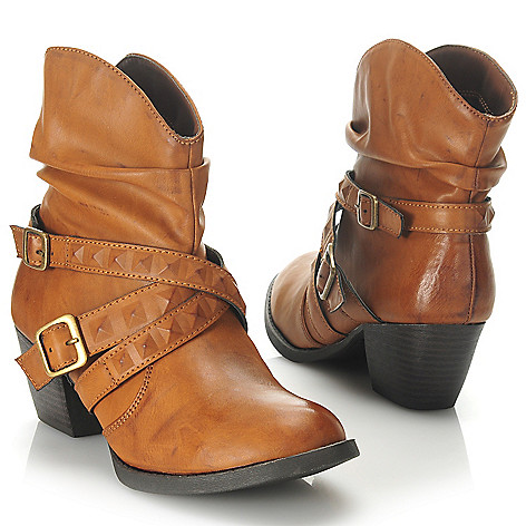 714-098 - MIA Scalloped Belt & Buckle Detailed Slouchy Short Boots