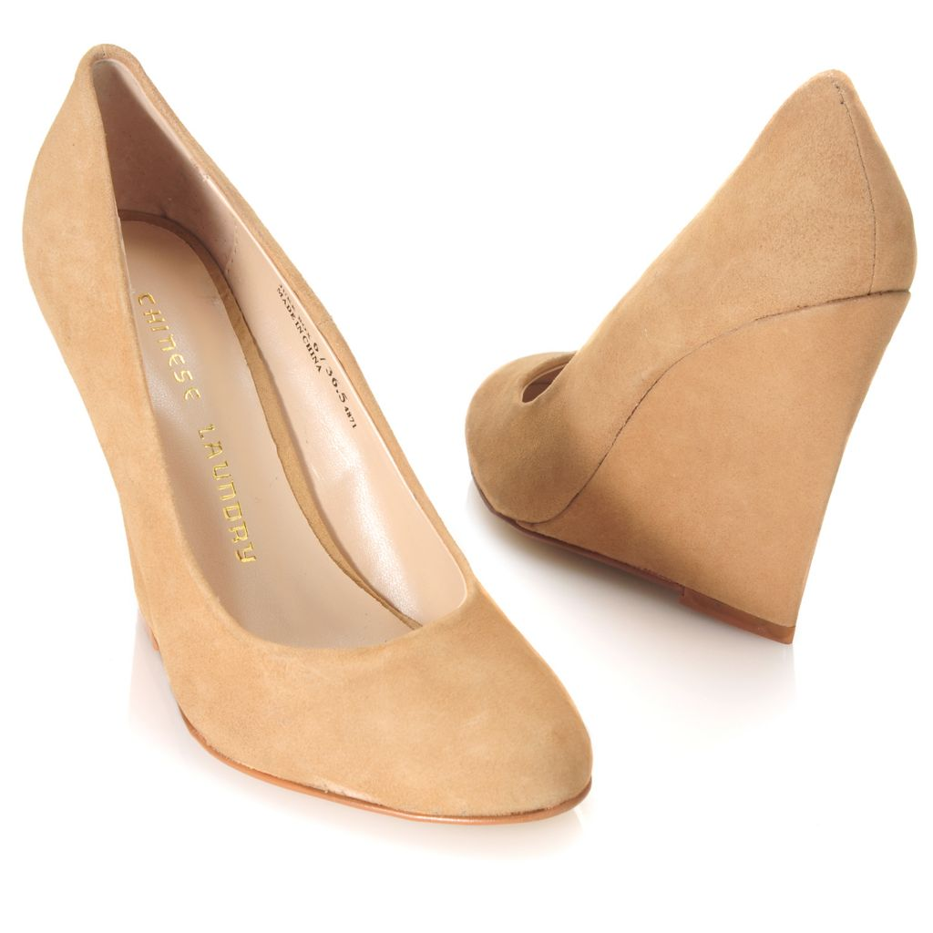 714-103 - Chinese Laundry Suede Leather Slip-on Wedge Pumps