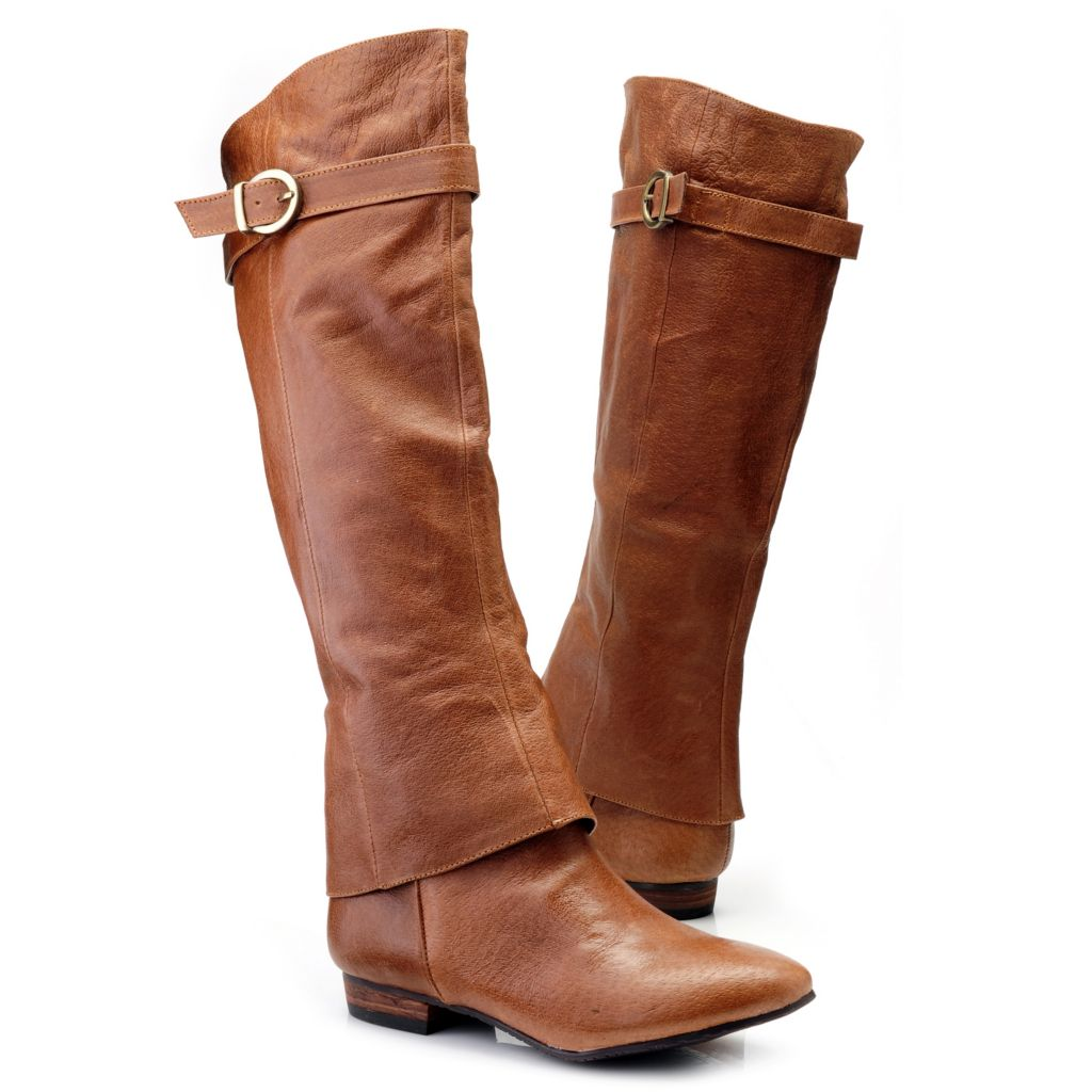 714-104 - Chinese Laundry Leather Pull-on Buckle Detailed Knee-High Boots
