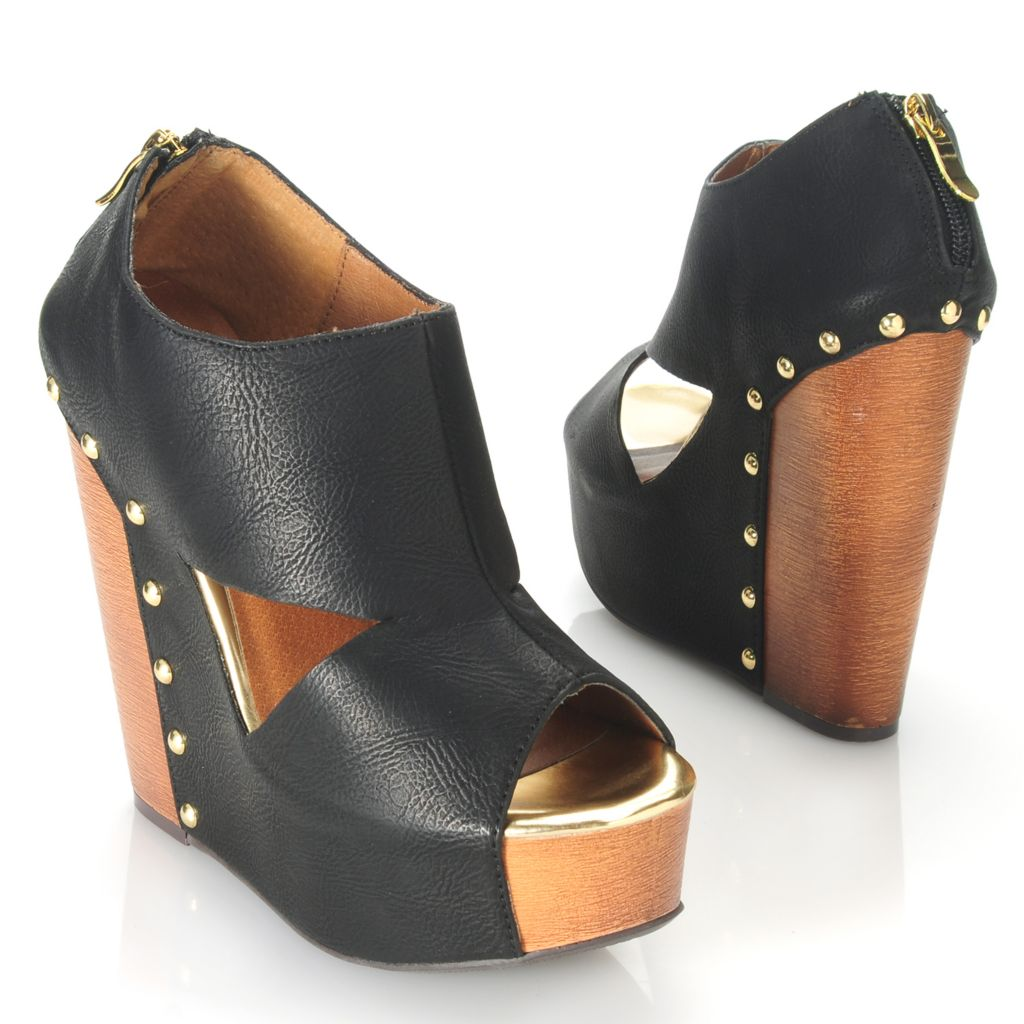 714-106 - Chinese Laundry Peep Toe Cut-out Studded Back Zip High Wedge Heels