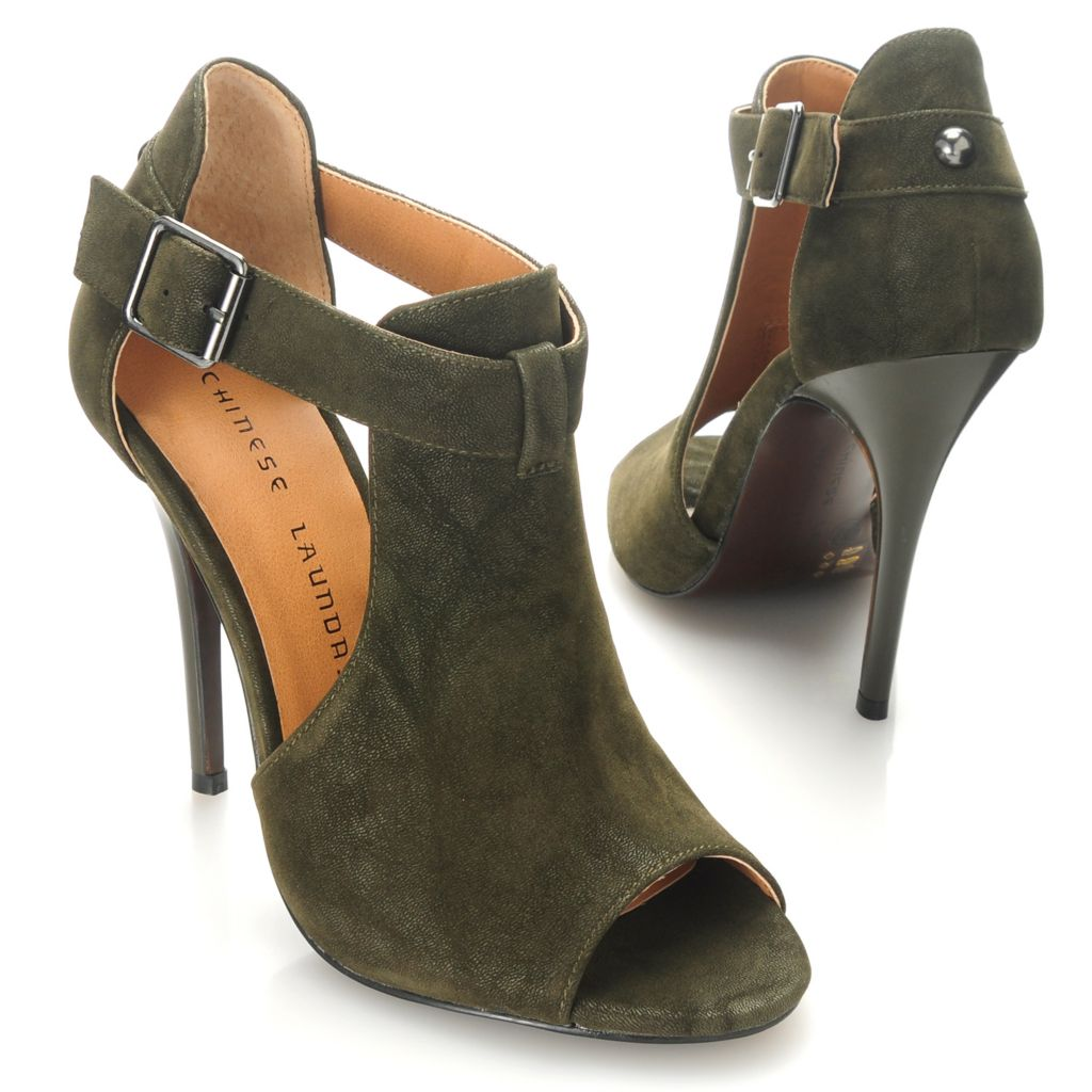 714-109 - Chinese Laundry Nubuck Leather Peep Toe Stiletto Heels