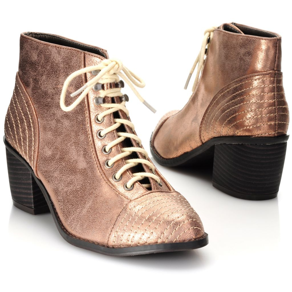 714-112 - Michael Antonio® Metallic Lace-up Ankle Boots