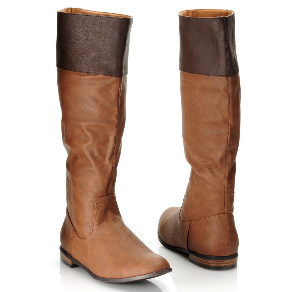 714-113 - Michael Antonio® Two-tone Side Zip Tall Riding Boots