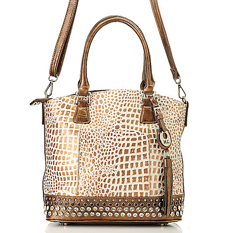 714-127 - Madi Claire ''Bridget'' Embossed Leather Rhinestone Embellished Double Handle Shopper Handbag