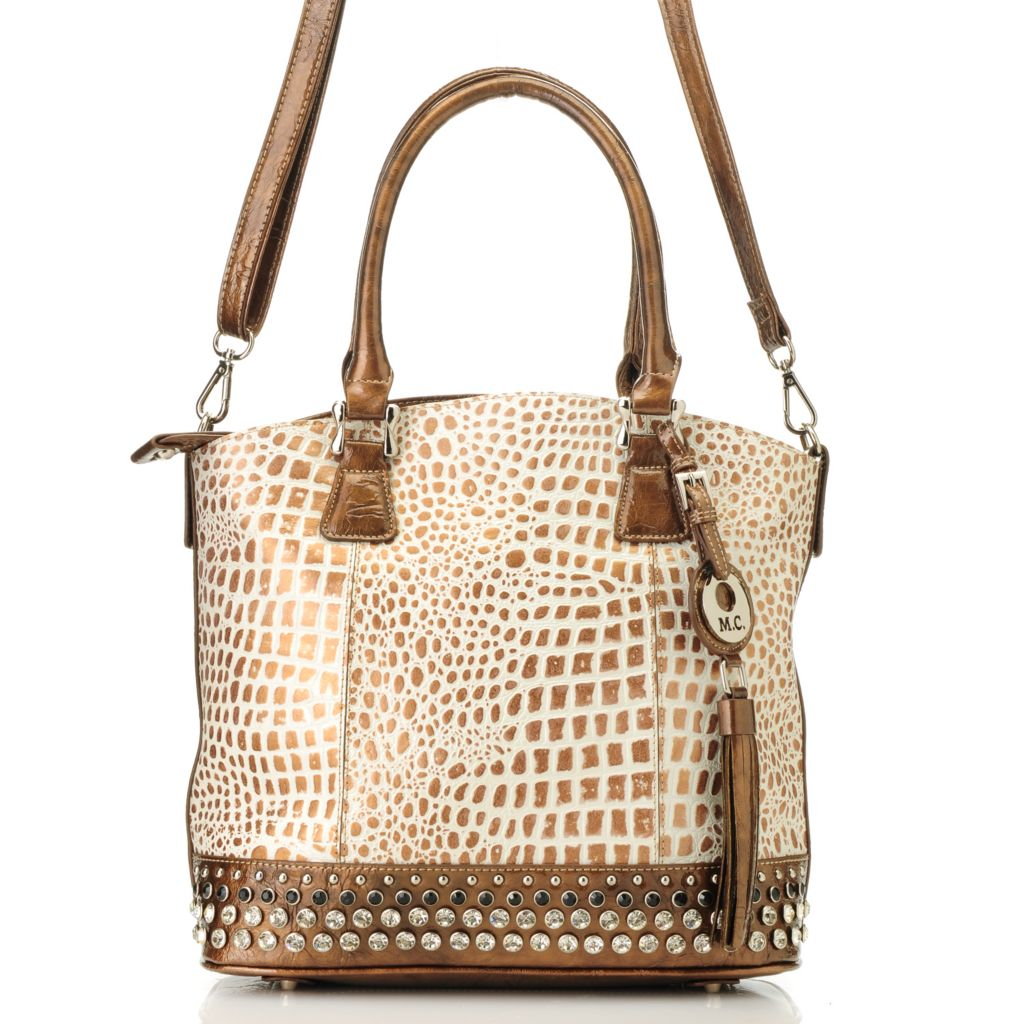714-127 - Madi Claire Embossed Leather Rhinestone Embellished Double Handle Shopper Handbag