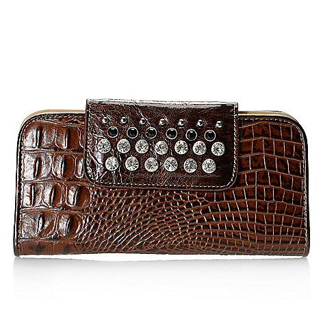 714-128 - Madi Claire ''Lisa'' Croco Embossed Leather Rhinestone Embellished Wallet