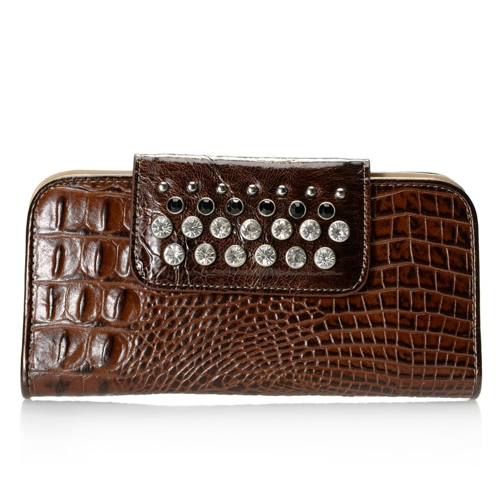 714-128 - Madi Claire Croco Embossed Leather Rhinestone Embellished Wallet