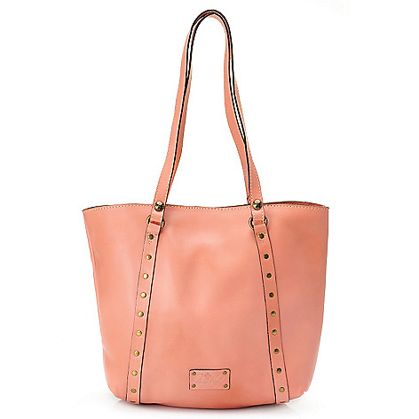 714-129 - Patricia Nash Leather Double Handle Rivet Tote Bag