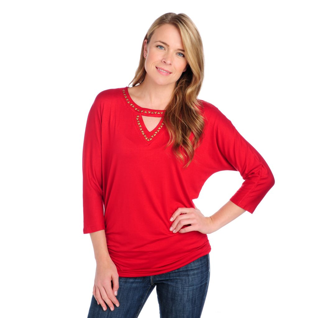 714-130 - Glitterscape Stretch Knit Dolman Sleeved Pyramid Detail Keyhole Neck Top