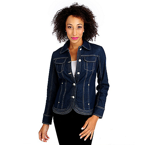 714-132 - OSO Casuals Stretch Twill Long Sleeved Tulip Hem Denim Jacket