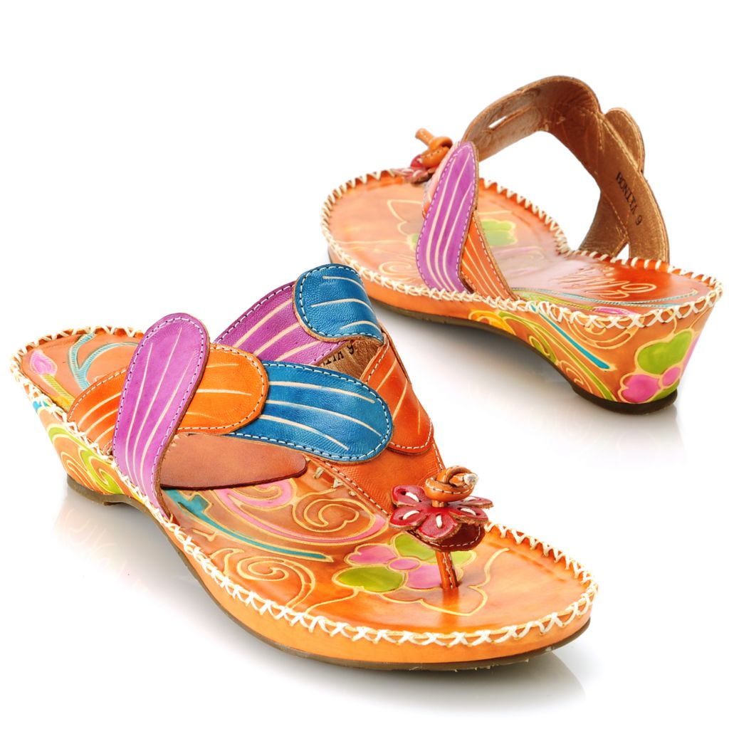 714-133 - Corkys Elite Hand-Painted Leather Slip-on Flower Thong Sandals