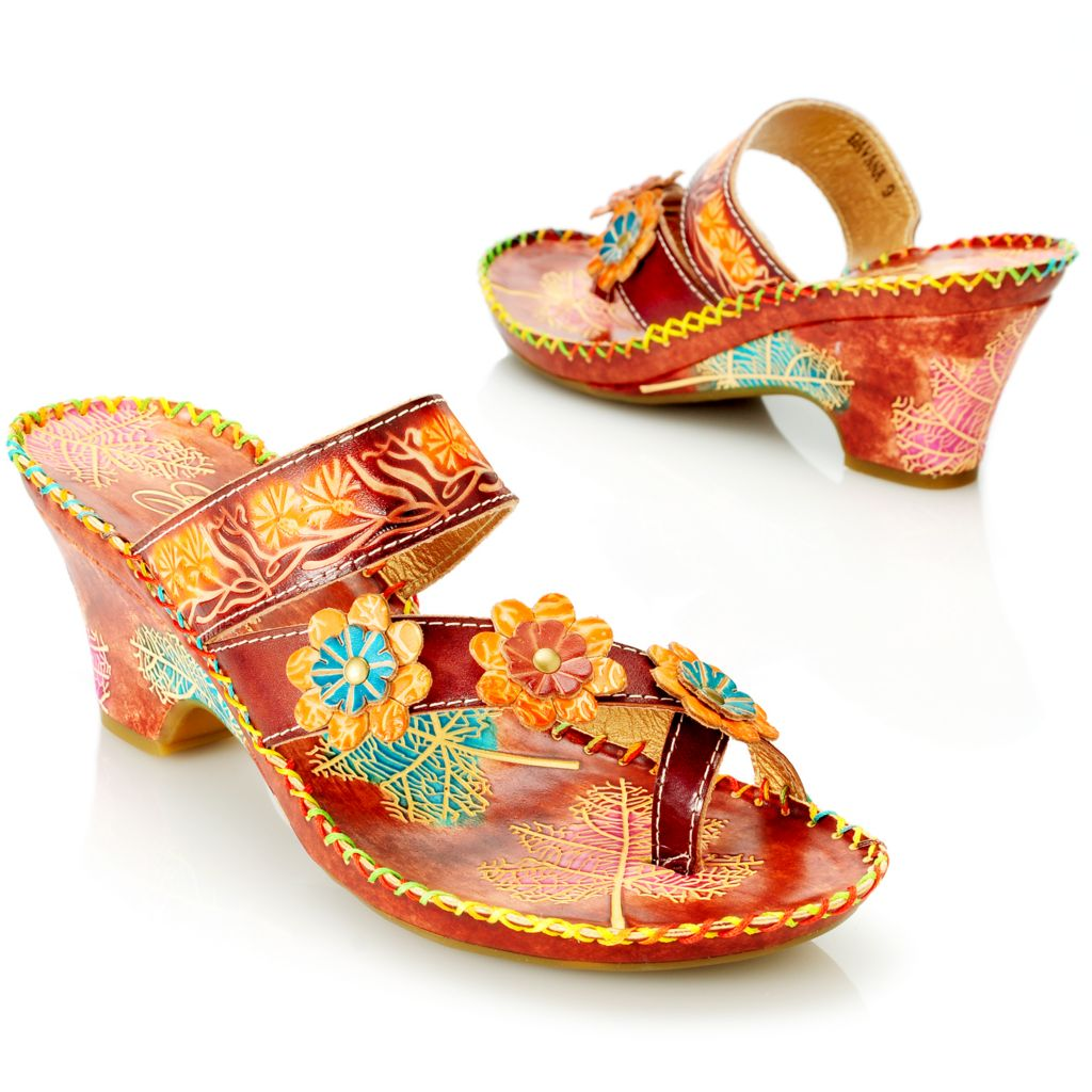 714-134 - Corkys Elite Hand-Painted Leather Crisscross Toe Ring Flower Wedge Sandals