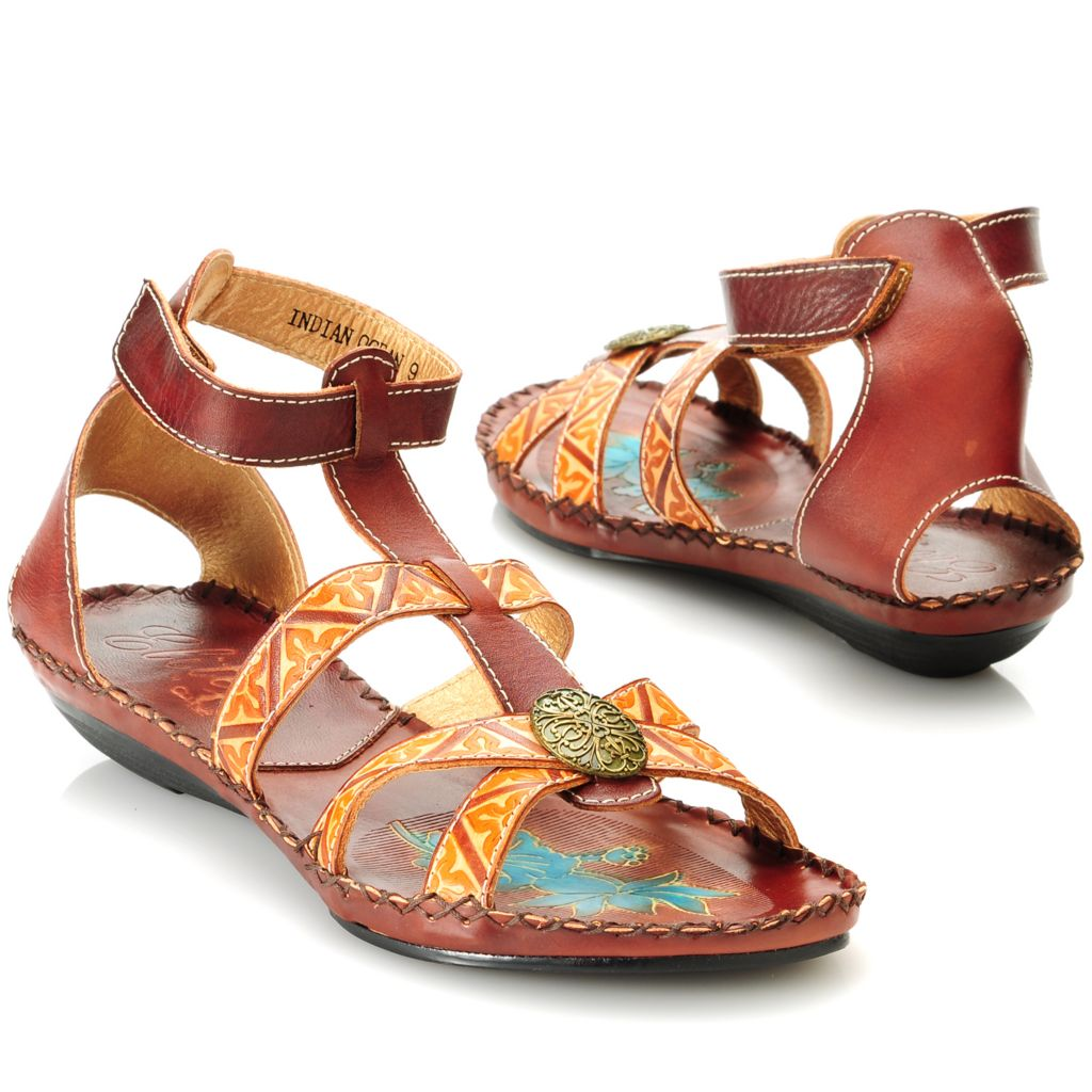 714-135 - Corkys Elite Hand-Painted Leather Oval Medallion Crisscross Sandals