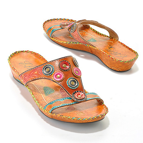 714-136 - Corkys Elite Hand-Painted Leather Textured Circle Design Slip-On Sandals