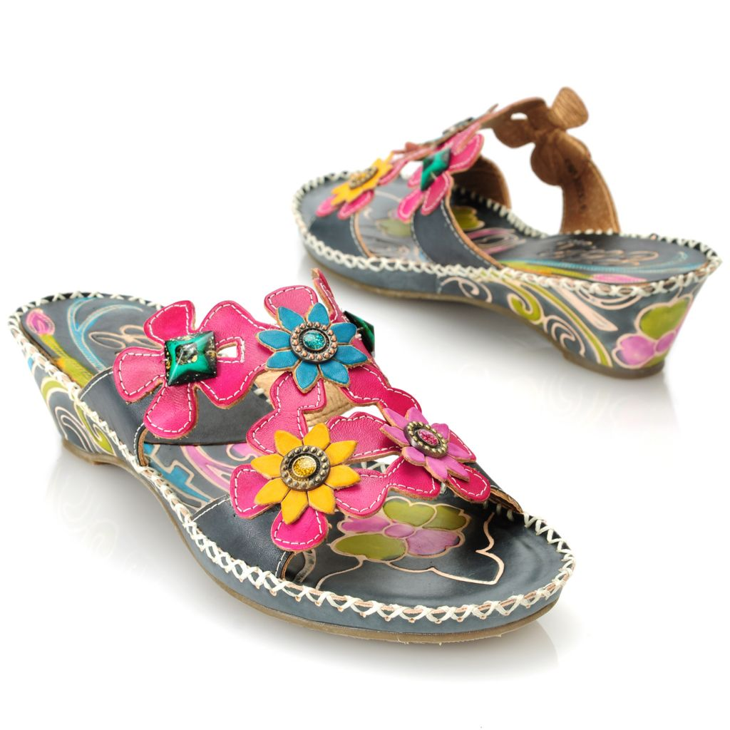 714-137 - Corkys Elite Hand-Painted Leather Slip-On Flower & Bead Slip-on Sandals