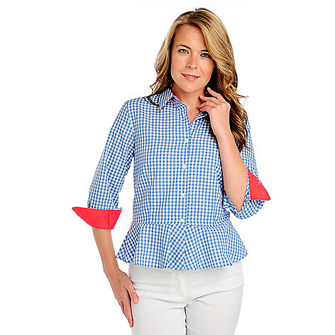 714-138 - Kate & Mallory Gingham Contrast Cuffed Button Down Peplum Shirt