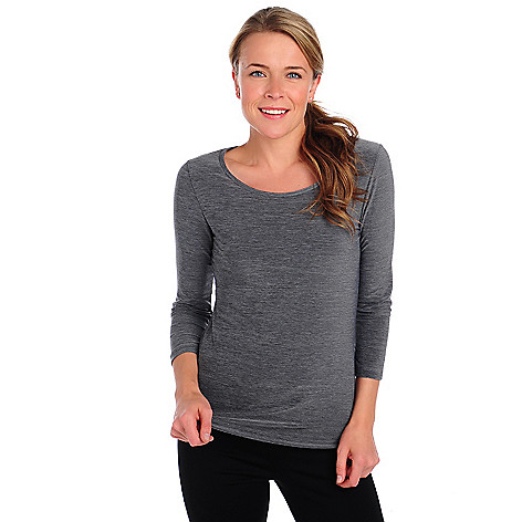 714-139 - Propella™ Stretch Knit 3/4 Sleeved Scoop Neck Heathered Top