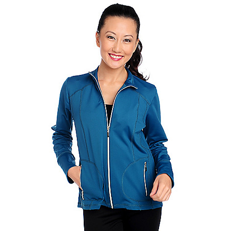 714-141 - Propella™ Stretch Nylon Long Sleeved Metallic Zipper Knit Jacket