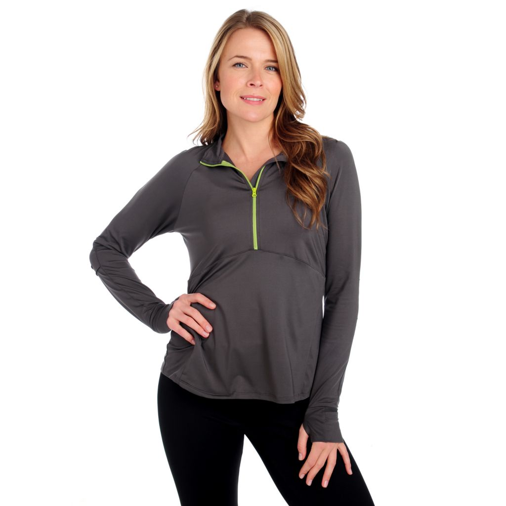 714-143 - Propella™ Stretch Knit Long Sleeved Contrast Half-Zip Pullover Top