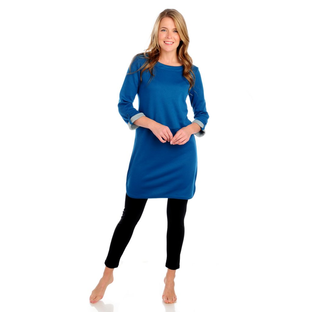 714-145 - Propella™ Double Knit Tab Sleeved Zip Shoulder Tunic Dress