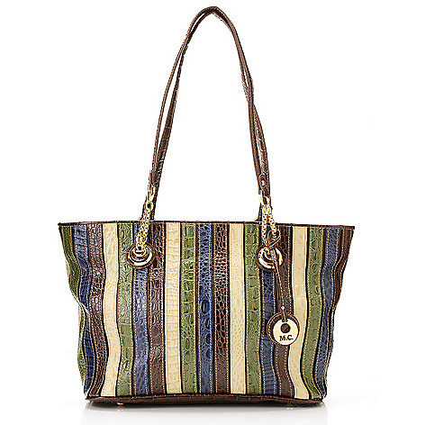 714-148 - Madi Claire Multi Color & Print Leather Double Handle Chain Detailed Zip Top Tote Bag