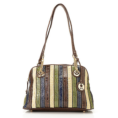 714-149 - Madi Claire ''Iris'' Multi Color & Printed Leather Double Handle Dome Satchel