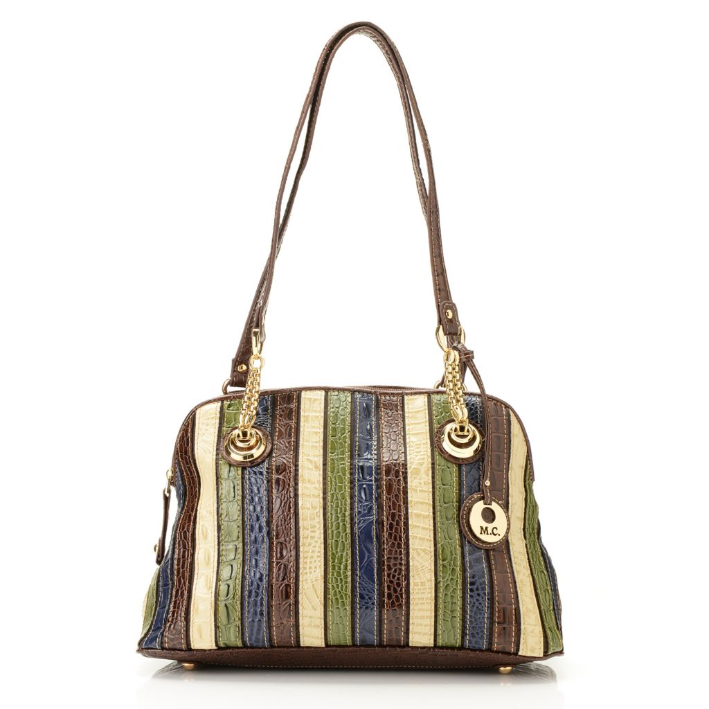 714-149 - Madi Claire Multi Color & Print Leather Double Handle Dome Satchel