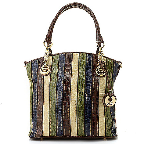 714-150 - Madi Claire Multi Color & Print Leather Shopper Handbag w/ Shoulder Strap