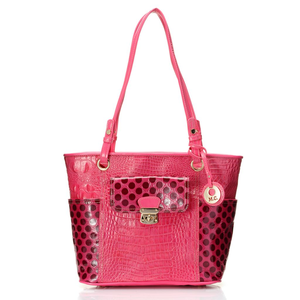 714-151 - Madi Claire Croco Embossed Leather & Polka Dot Design Tote Bag
