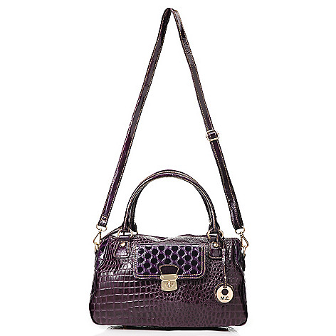 714-152 - Madi Claire Croco Embossed Leather & Polka Dot Design Zip Top Satchel