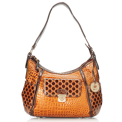 714-153 - Madi Claire ''Juliet'' Croco Embossed & Polka Dot Designed Leather Hobo Handbag