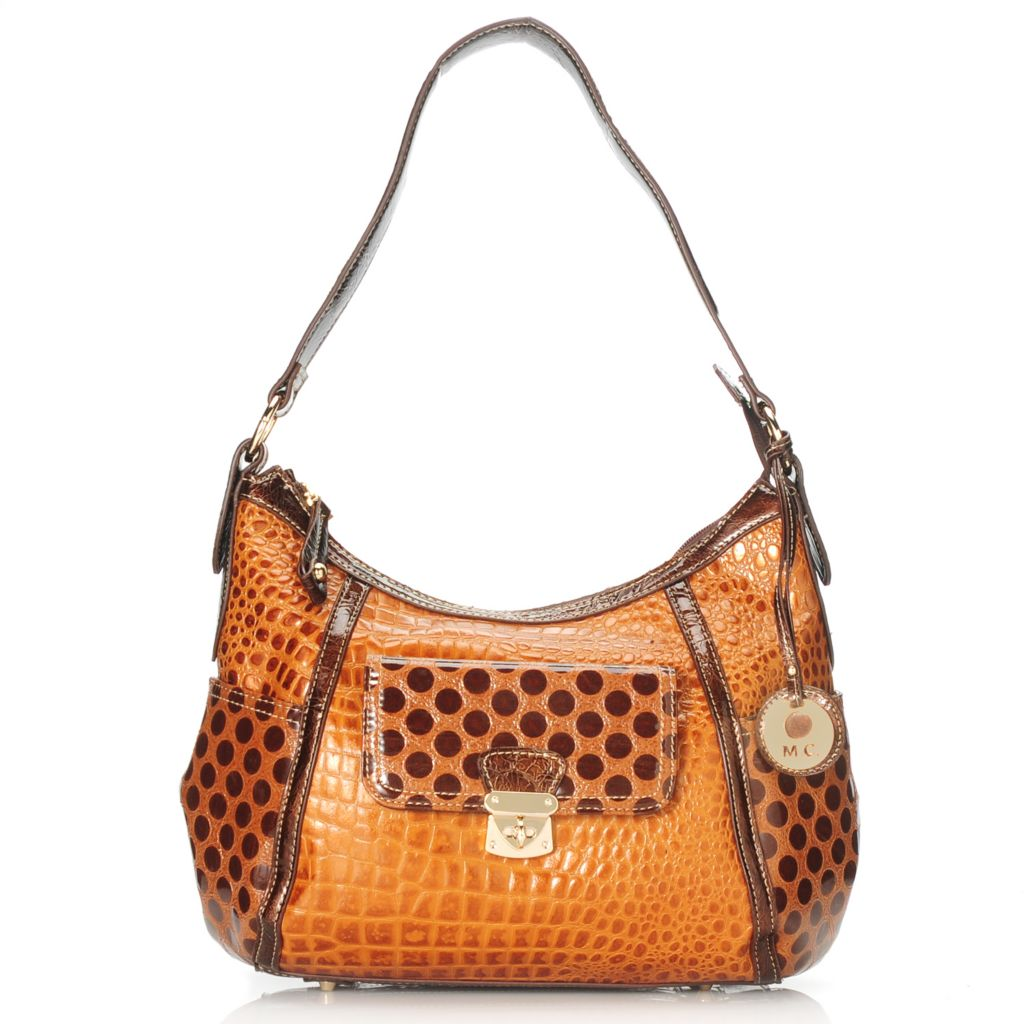 714-153 - Madi Claire Croco Embossed Leather & Polka Dot Design Hobo Handbag