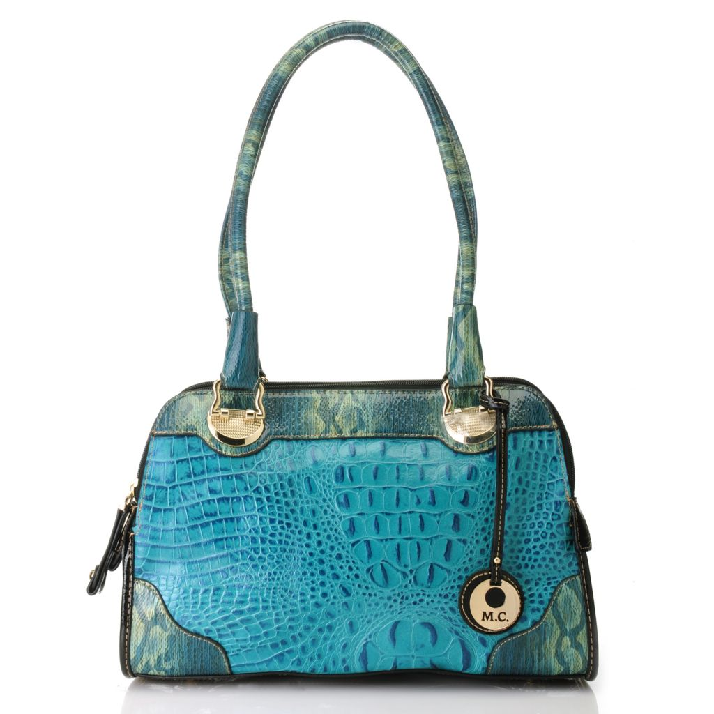 714-154 - Madi Claire Croco Embossed Leather Multi Compartment Snake Print Satchel