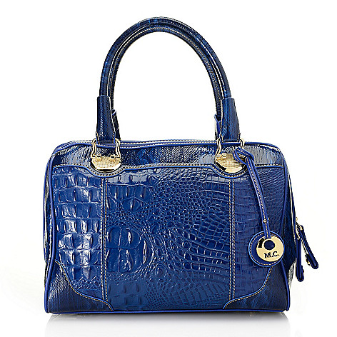 714-156 - Madi Claire Croco Embossed & Snake Printed Leather Zip Around Barrel Satchel