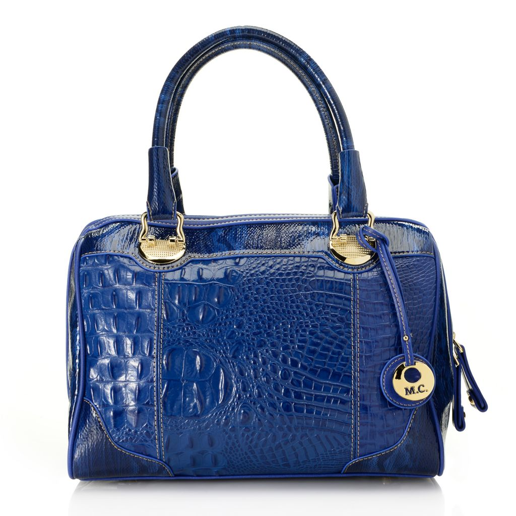 714-156 - Madi Claire Croco Embossed Leather & Snake Print Zip Around Barrel Satchel