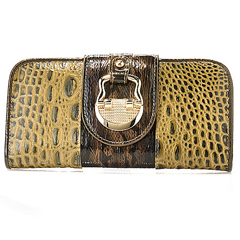 714-157 - Madi Claire Croco Embossed Leather & Snake Print Flap-Over Wallet