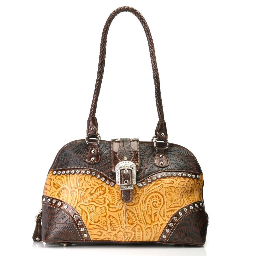 714-161 - Madi Claire Tool Embossed Leather Rhinestone Embellished Dome Satchel