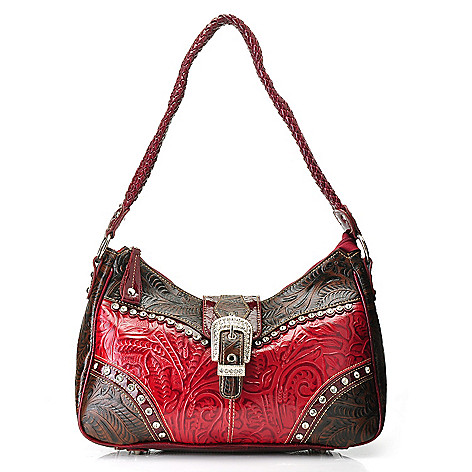 714-162 - Madi Claire Tool Embossed Leather Rhinestone Embellished Hobo Handbag