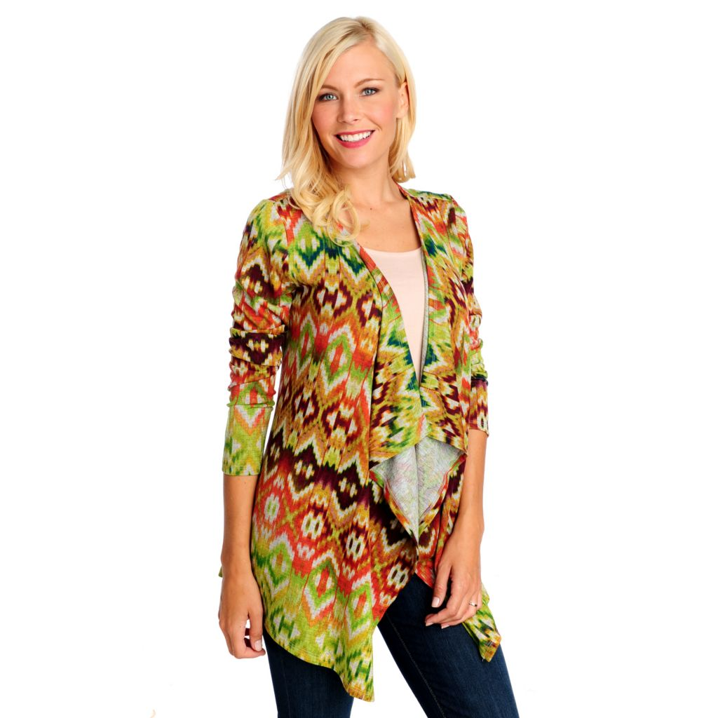 714-165 - One World Sweater Knit Long Sleeved Ikat Print Cascade Cardigan
