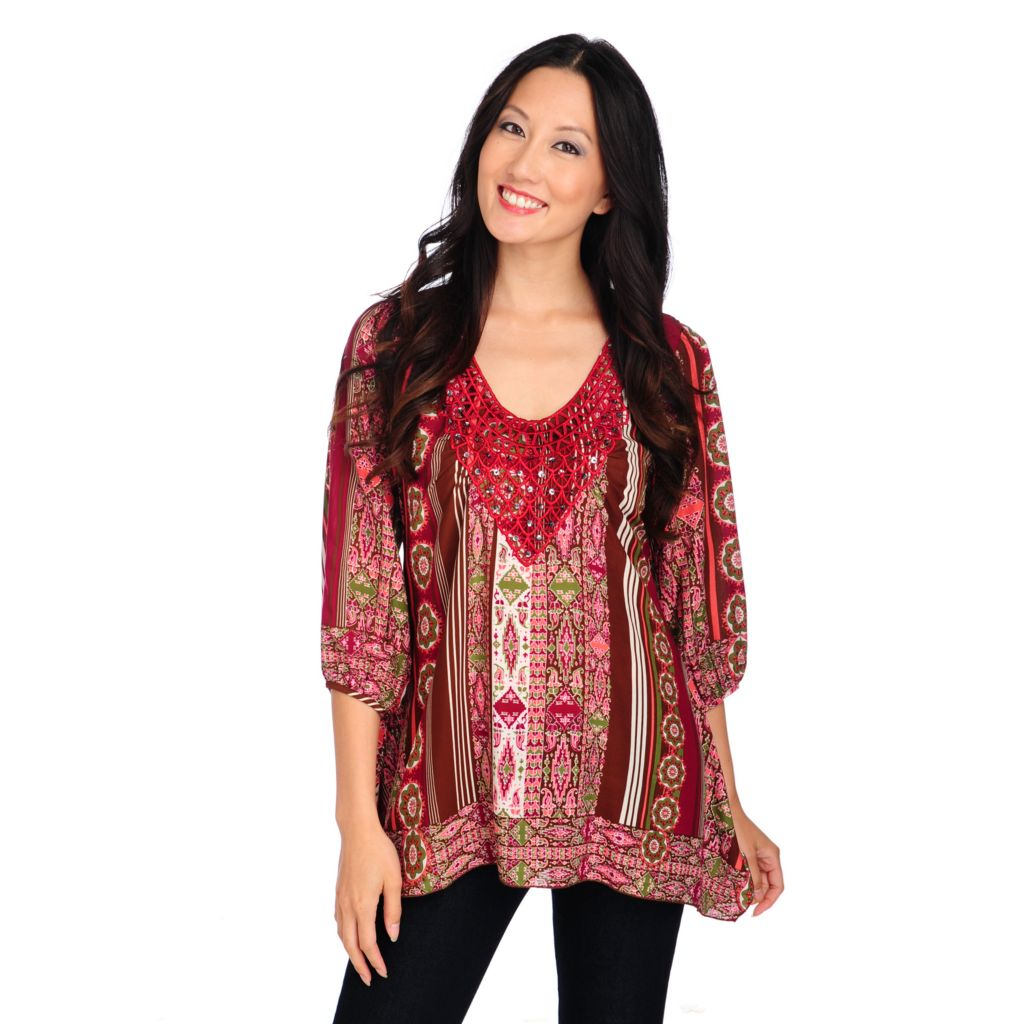 714-166 - One World Printed Chiffon Blouson Sleeved Crochet Applique Smocked Back Top