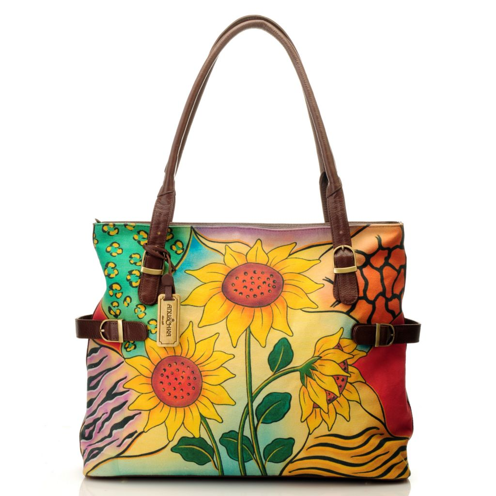 714-176 - Anuschka Canvas & Leather Large Organizer Tote Bag