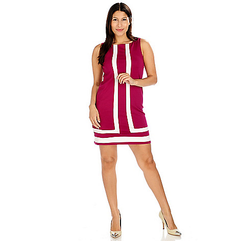 714-185 - aDRESSing WOMAN Ponte Knit Sleeveless Shift Dress