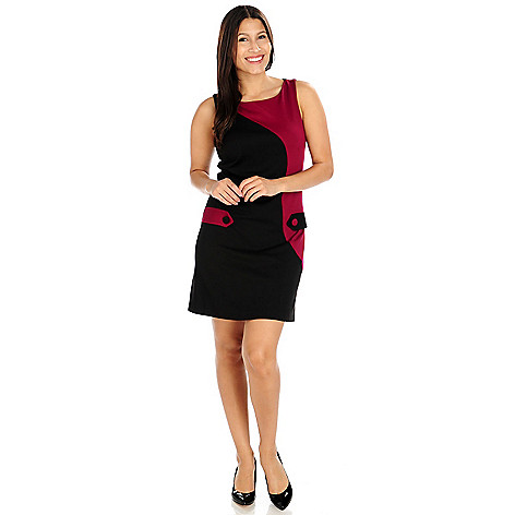 714-187 - aDRESSing WOMAN Ponte Knit Sleeveless Tab Detail Shift Dress