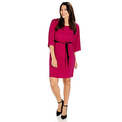 714-188 - aDRESSing WOMAN Stretch Knit Kimono Sleeved Self Belt Dress