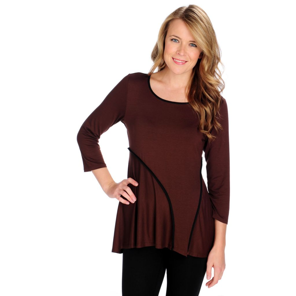 714-194 - aDRESSing WOMAN Stretch Knit 3/4 Sleeved Piping Detail Hi-Lo Top