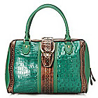 714-198 - Madi Claire Croco Embossed & Perforated Leather Double Handle Zip Around Satchel