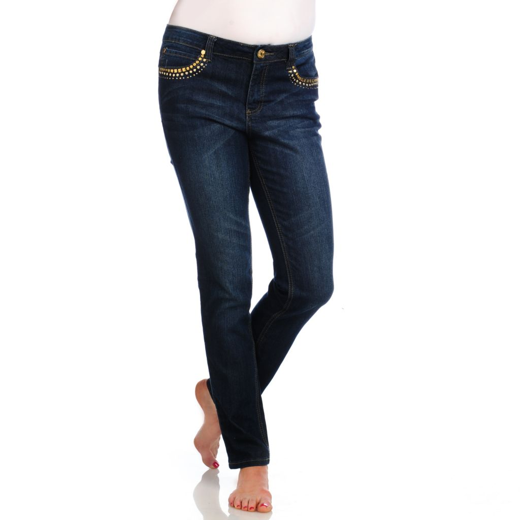 714-200 - OSO Casuals Stretch Denim Embellished Five-Pocket Slim Leg Jeans